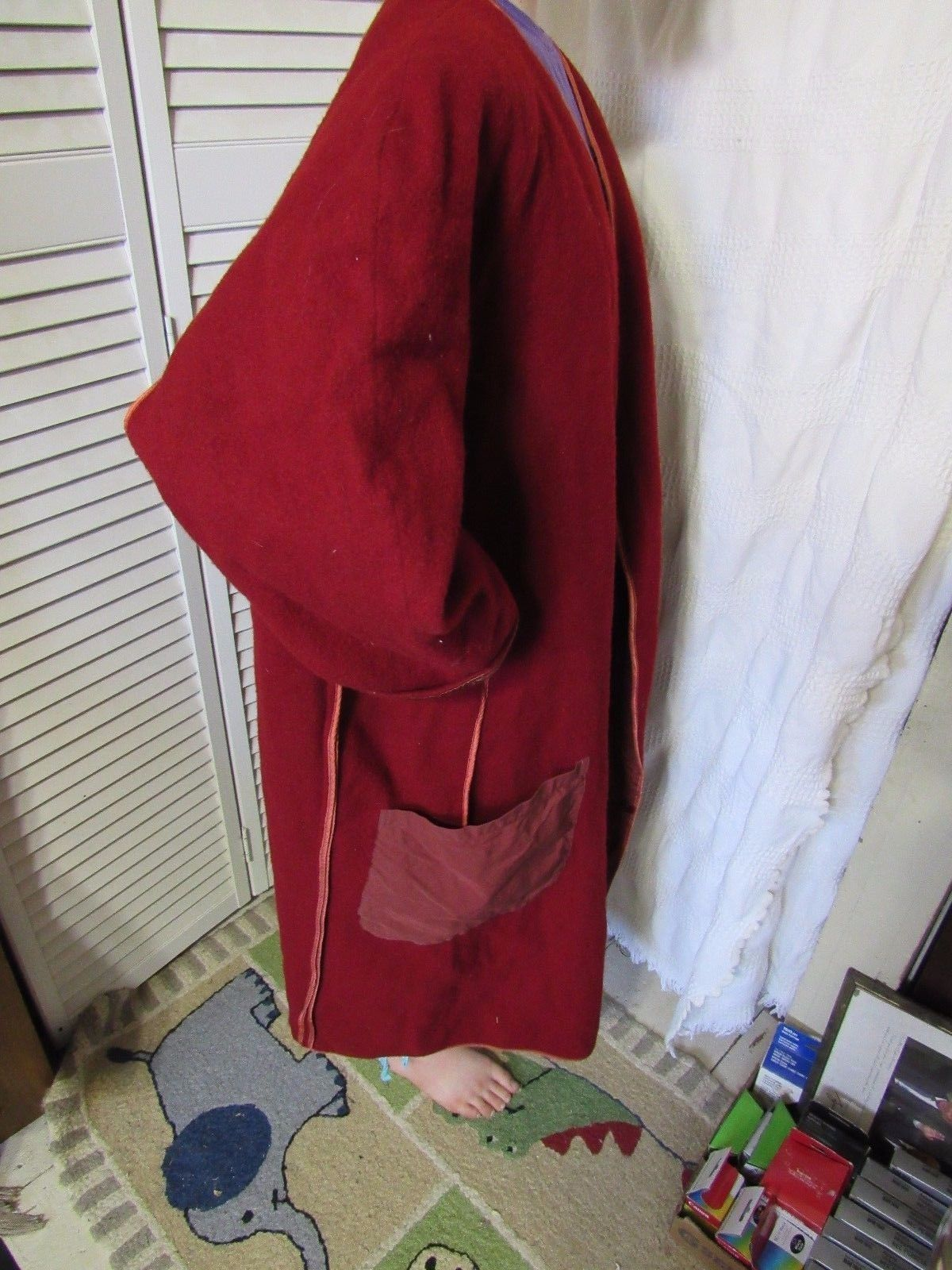 Pirate Costume Wool Frock Coat French Army Officer Lined Burnt Orange Prop