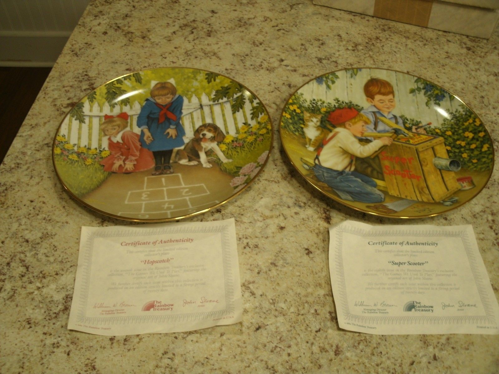 Two VTG 1985 Rainbow Treasury Hopscotch / Super Scooter Collector Plates w COAs
