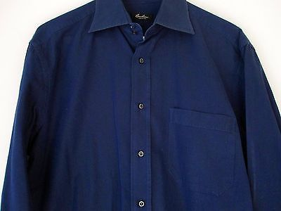 Corneliani Shirt 16 41 Dark Blue Long Sleeve Button Down Mens Made Italy