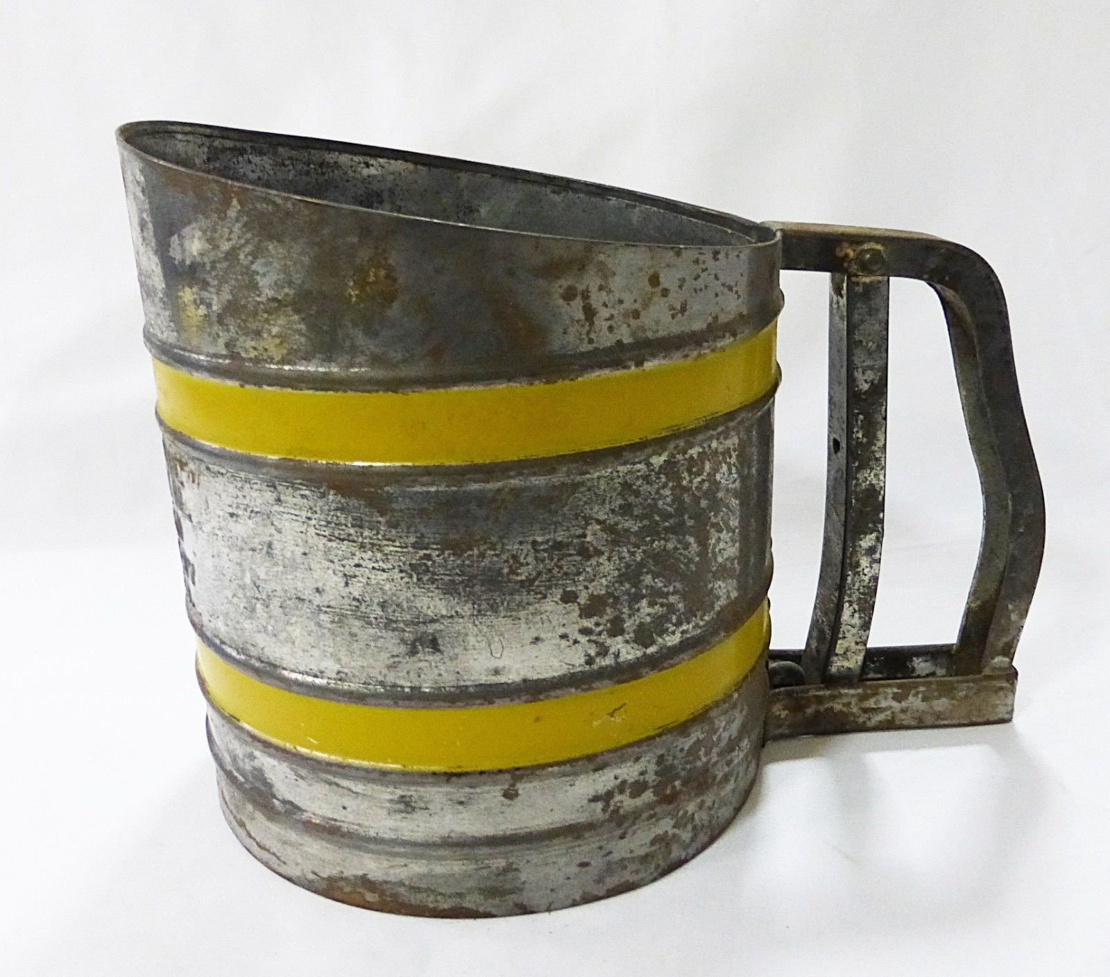 vintage flour sifter chine double screen with yellow bands working