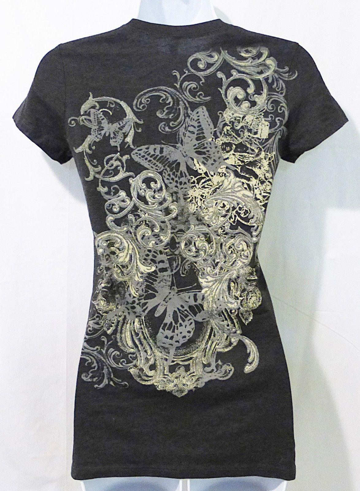 Women t-shirt short sleeve with cross print gray S-L