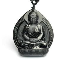 natural Obsidian Hand carved Sakyamu buddha Sakyamu zen Meditation yoga ... - $19.79