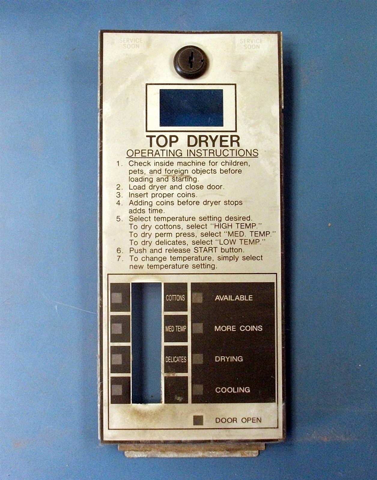 Huebsch Speed Queen Huebsch Upper Dryer Control Faceplate Model jtd32dg