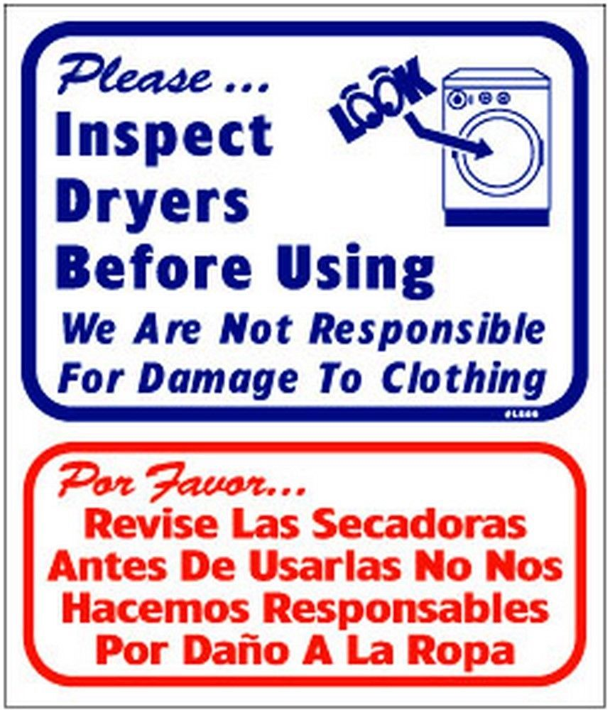 "L809 ""Inspect dryers before using."" in English & Spanish Model Number L809"