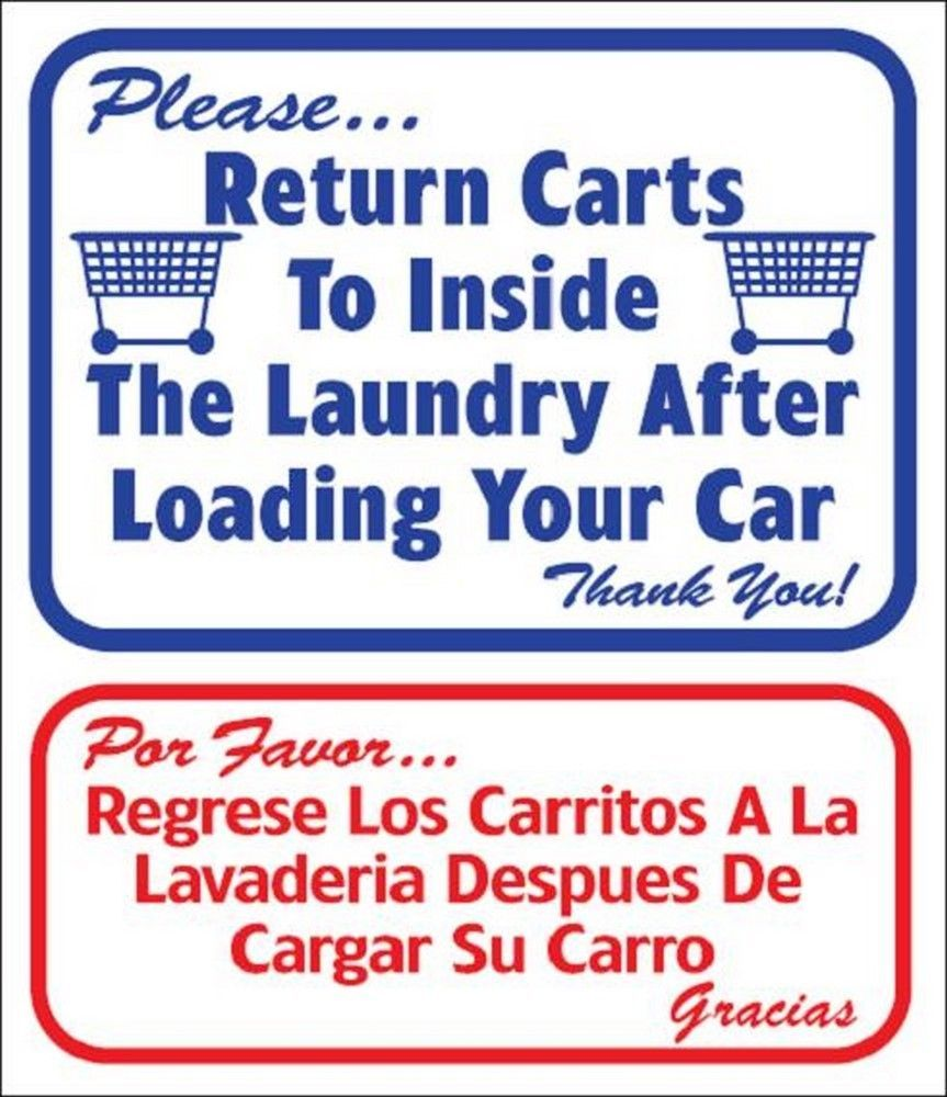 "L811 ""Please...Return Carts To Inside The Laundry"" in English & Spanish Model Nu"