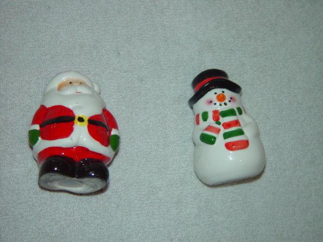 Christmas Salt And Pepper Shakers Santa And Snowman Set