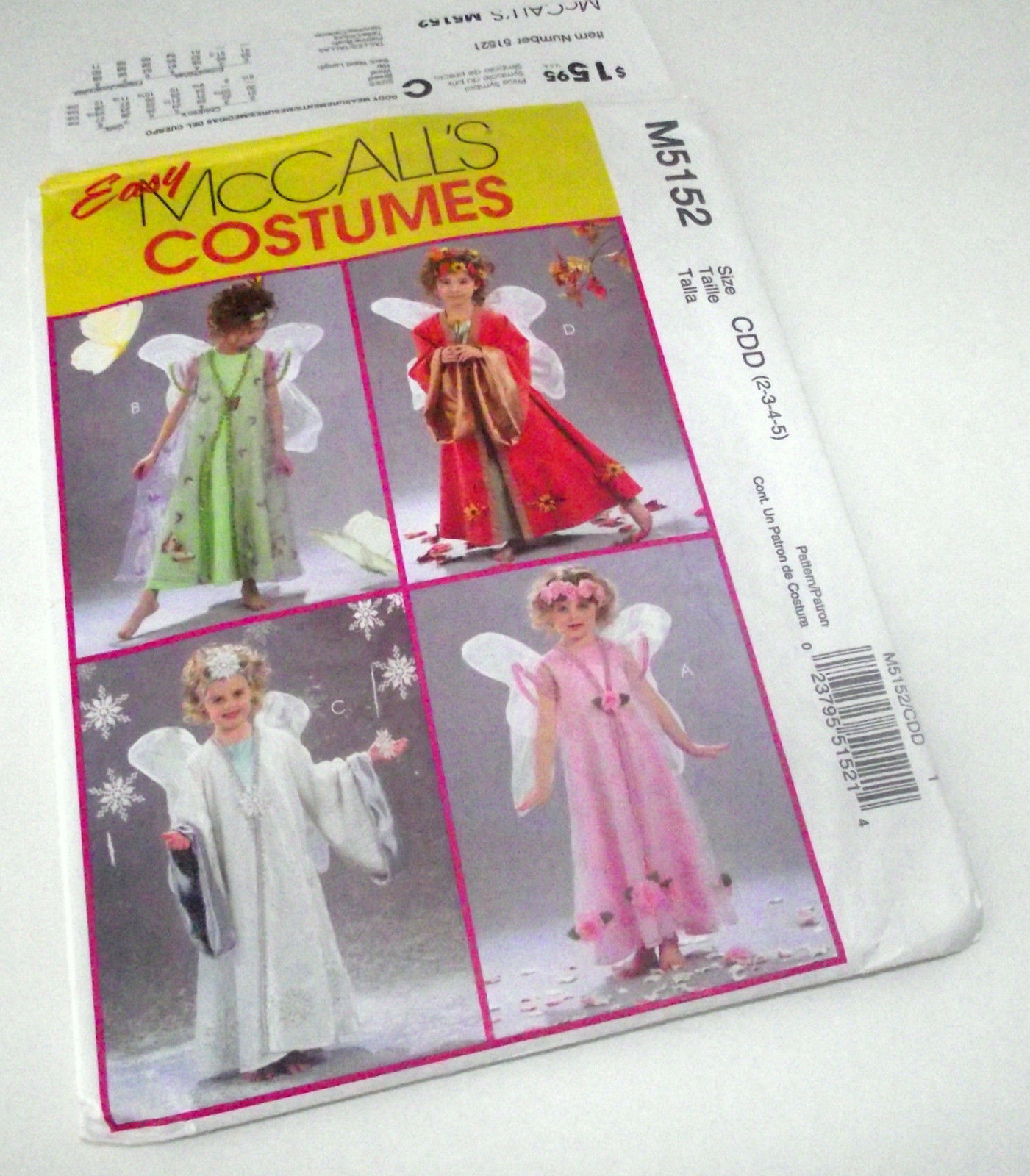 Fairy Princess Angel Costume Pattern McCall's 5152 Girl Halloween NEW Dress UP