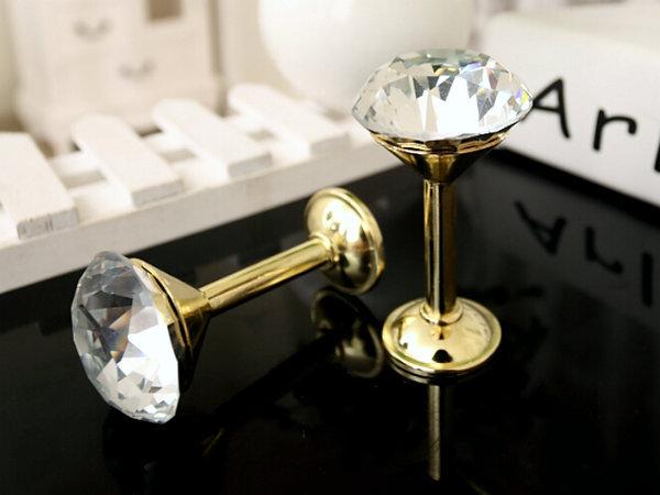 Glass Hook Decorative Hooks Wall Hooks Clear Gold Crystal Curtain Tieback