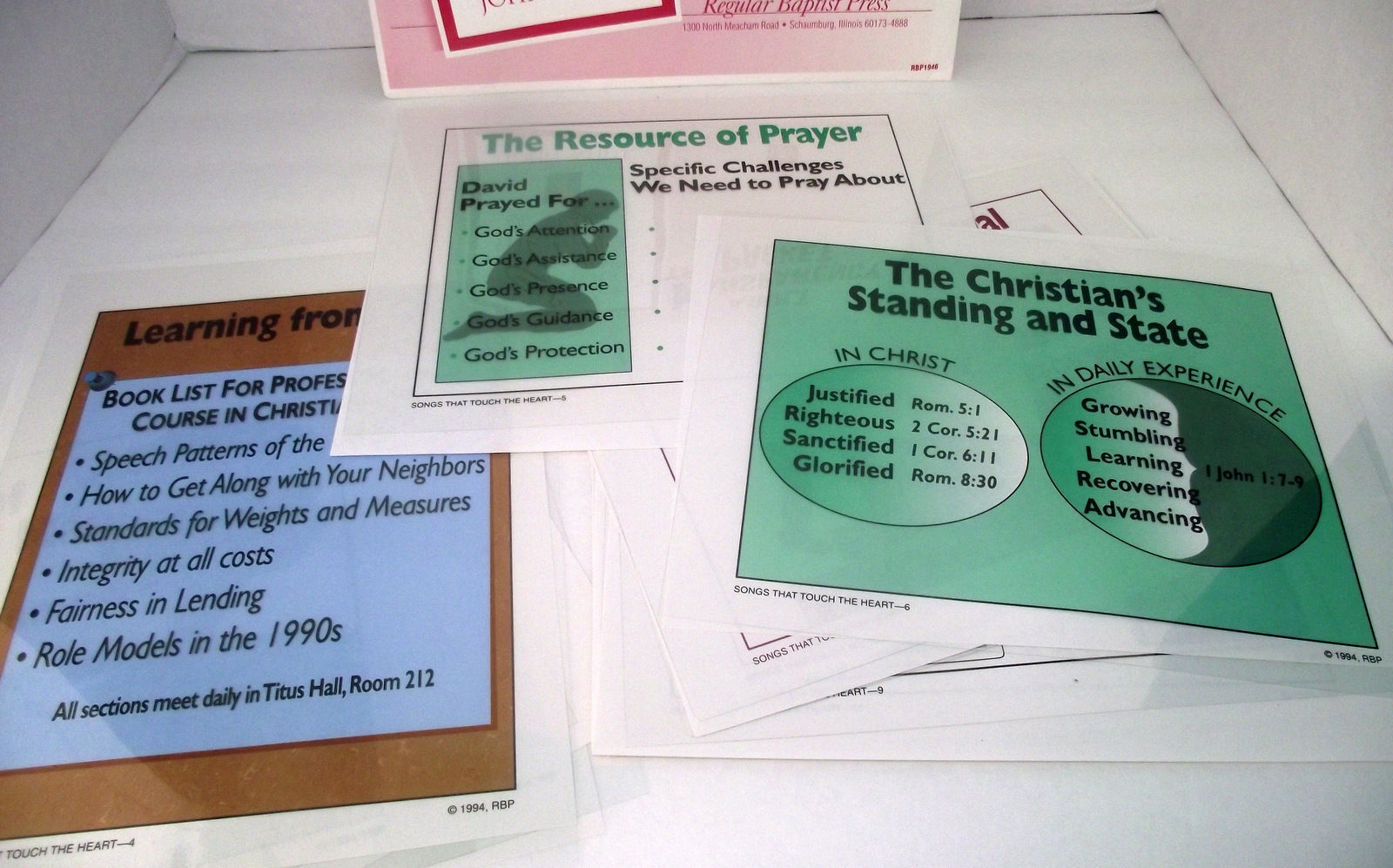 Transparency Songs Touch Heart Psalms Bible Lesson Overhead Baptist Press NEW