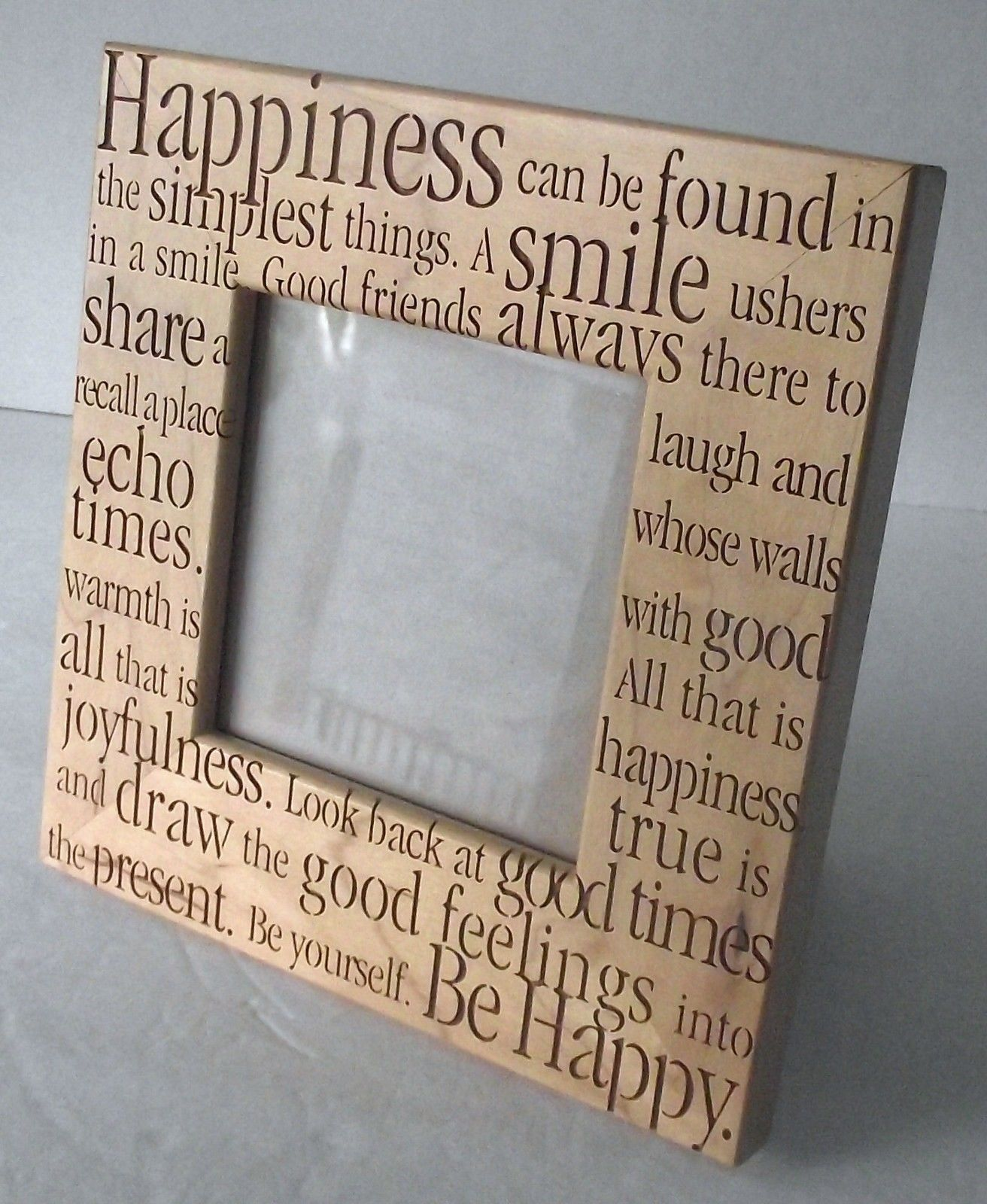 Picture Frame Friends Happy Smile Positive Words Wood Feelings Photo Laser Cut