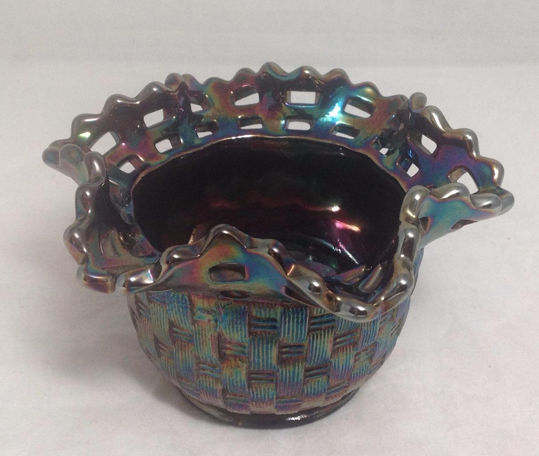 "Carnival Glass, Bowl, Basket Pattern, Lace Edge, FENTON 1970s backmark, 3-1/2x5"""