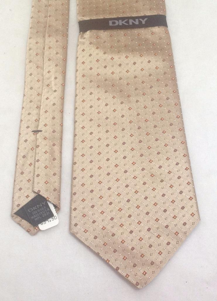 "DKNY Necktie, 4""x58"", 100% Silk, Gold, NEW w/tags"