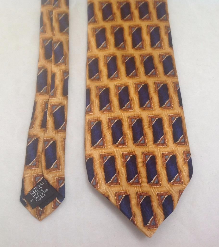 "Primary image for Oscar de La Renta, Necktie, 3-1/2""x61"", 100% Silk, Mexico, Gold/Blue"