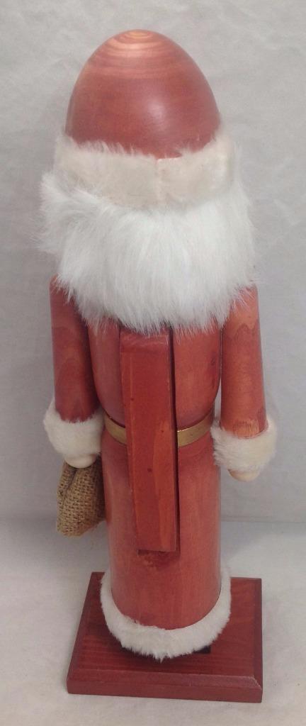 """Nutcracker Wooden 15"""" , faux fur, burlap bag"""