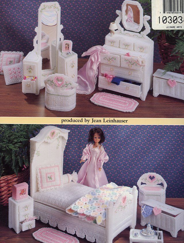 Hearts 'n' Flowers Bedroom for Barbie Doll Plastic Canvas Pattern Leaflet RARE