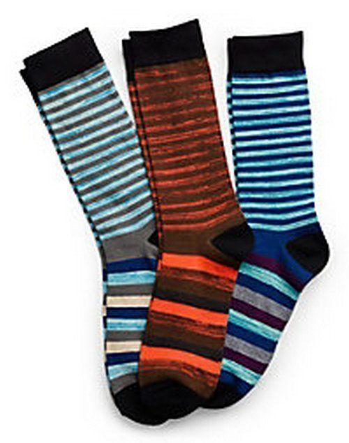Hanes Men's Random Stripe Crew Socks 3-Pack 10-13 Blues, Orange, White, Multi