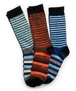Hanes Men's Random Stripe Crew Socks 3-Pack 10-13 Blues, Orange, White, ... - $15.81