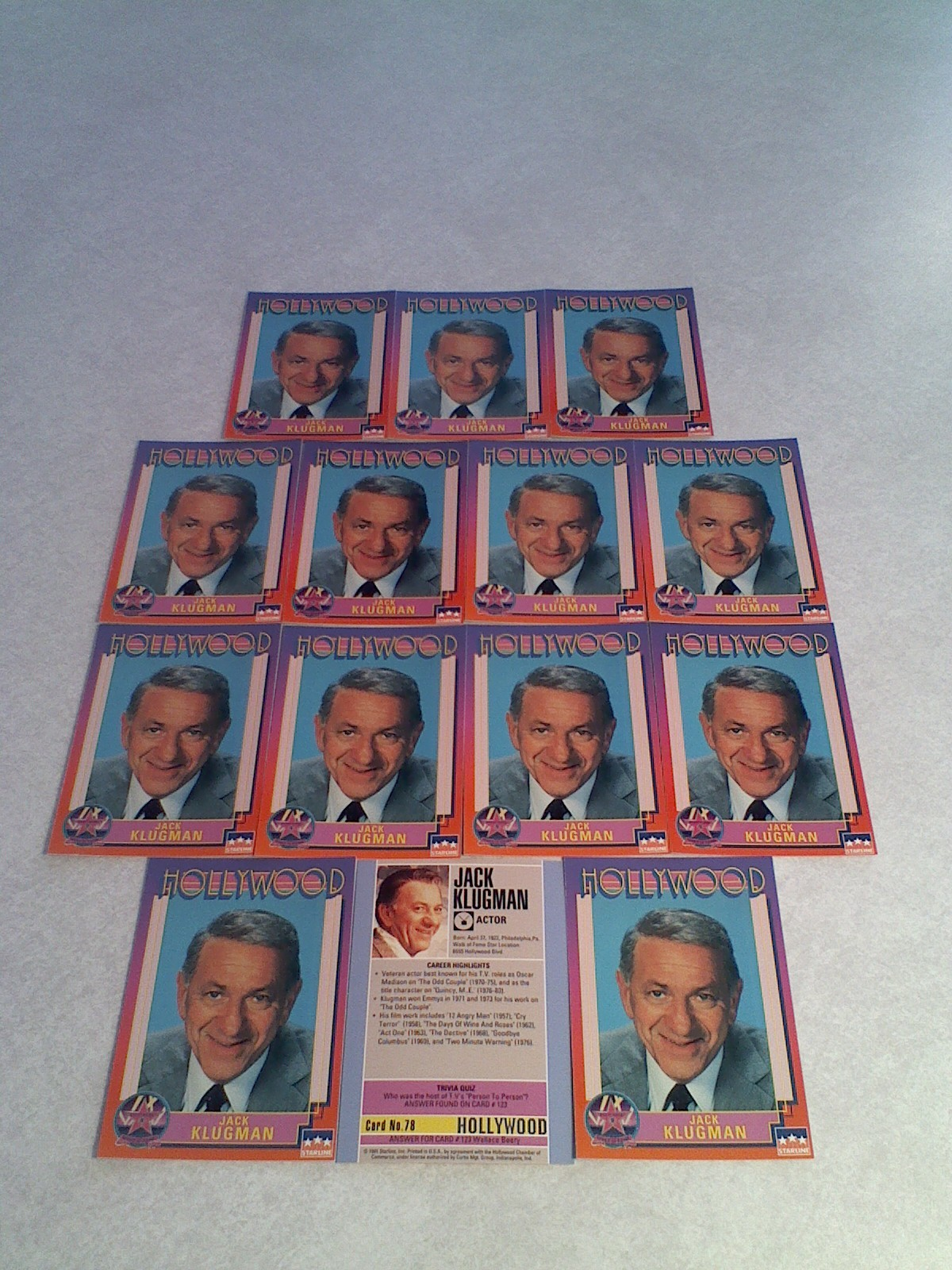 ***JACK KLUGMAN***   Lot of 14 cards / Hollywood Walk of Fame