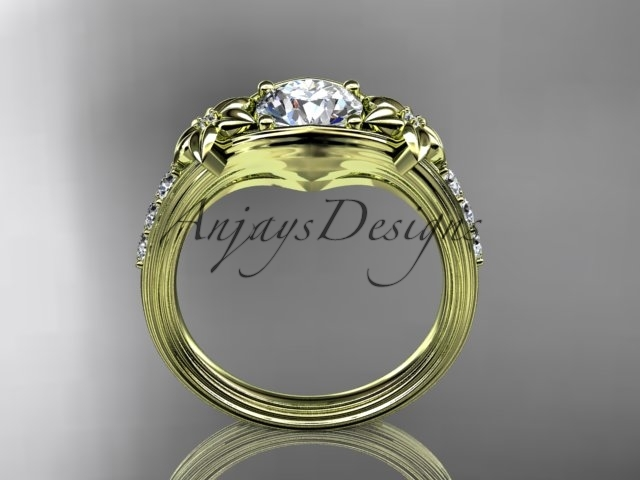 14k yellow gold diamond leaf and vine, floral diamond engagement ring ADLR333
