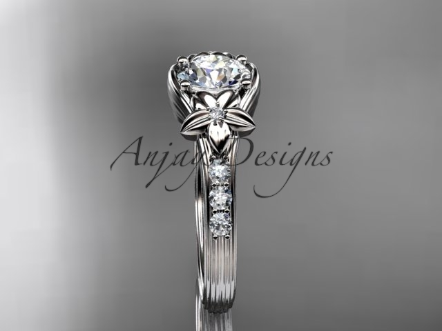 Platinum  diamond engagement ring with a Moissanite center stone ADLR333
