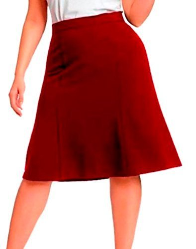 DBG Women's Slim Lady High Waisted A Line Skirt Large Maroon