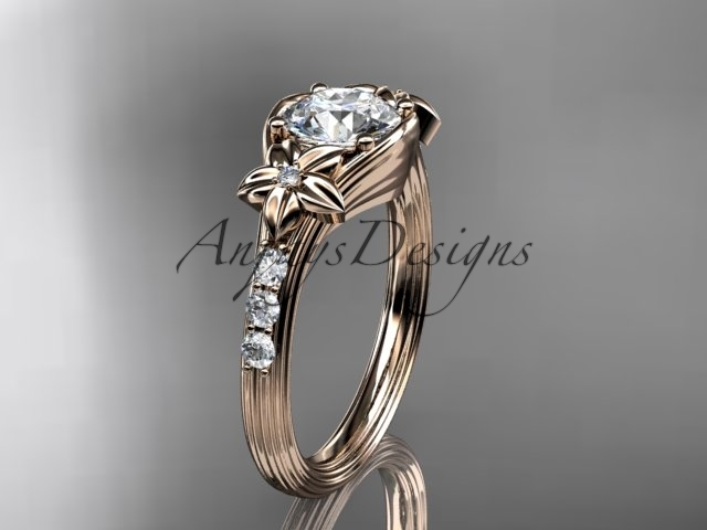 Ing333 rose gold  diamond wedding ring  diamond engagement ring  forever brilliant moissanite  1