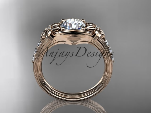 14k rose gold diamond engagement ring with a Moissanite center stone ADLR333