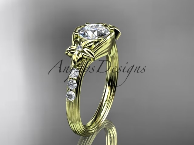 14k yellow gold diamond engagement ring with a Moissanite center stone ADLR333