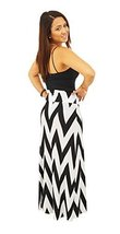 DBG Women's Women's Maxi Full Length Skirts (Medium, Black White Chevron) - $23.47