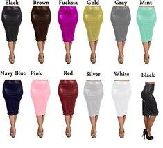 DBG Women's Faux Pencil Skirts (5XL, Burgundy) - $38.21