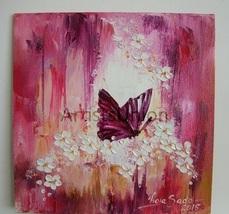 Purple Butterfly Original Impasto Oil Painting ... - $52.00