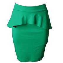 DBG Women's Peplum_High_Waisted_Skirts (Medium, Green) - $25.47