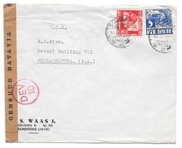 Dutch Indies Bandoeng Java WWII Batavia Censor Tape 1940 Commercial Cover to US - $22.00