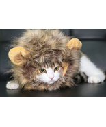 Fancy Pet Costume Cute Lion Mane Cat Hat Wig Cosplay Stuffed Plush Face ... - £8.25 GBP