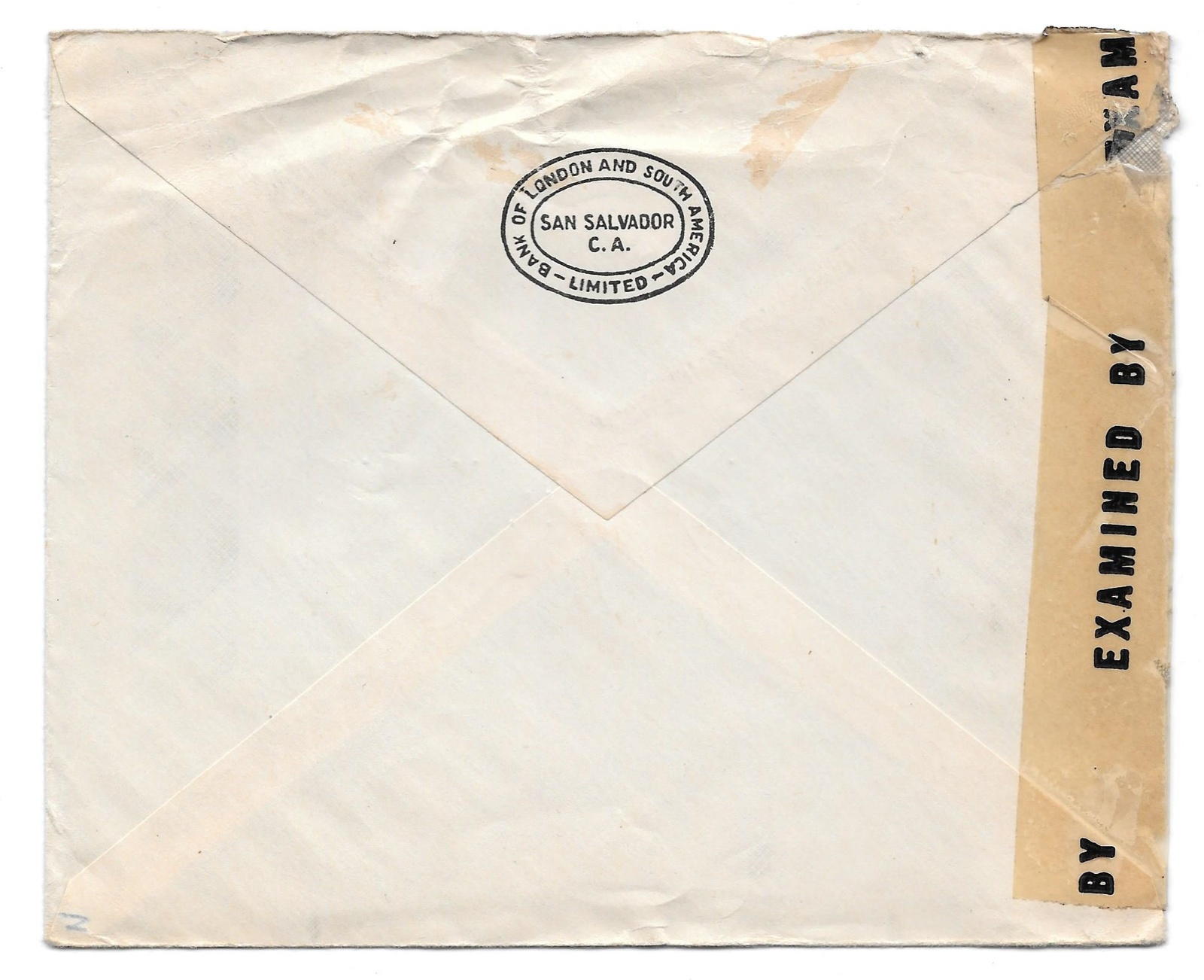 El Salvador Censored WWII Commercial Bank Cover to US 1944 Sc 578