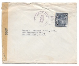 El Salvador Censored WWII Commercial Bank Cover to US 1944 Sc 578  - $4.99