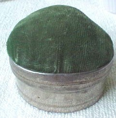 Japan vintage part metal pincushion with mirror & room for sewing kit