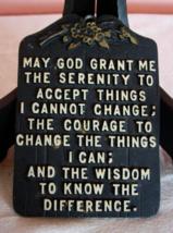 Vintage Serenity Prayer Wall Plaque - Black Metal - Circa 1960 - $8.00