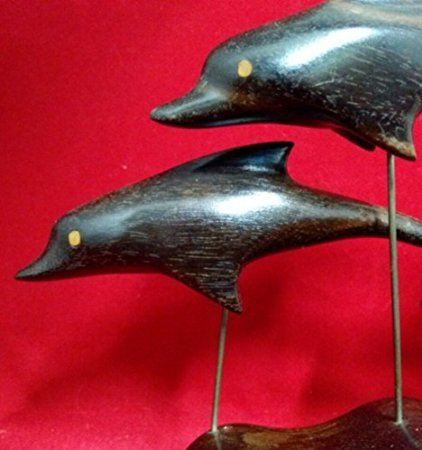 Hand Carved Dolphin Trio