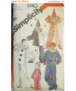Simplicity 5740 Sewing Pattern 1980s  Childrens Clown Costumes & Hats 2-... - $2.00