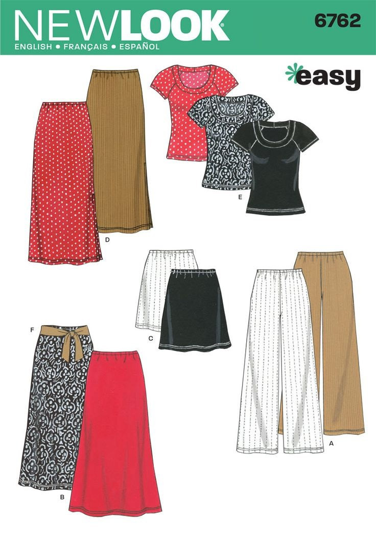 Primary image for New Look 6762 Blouse, Pants, Skirt  3 lengths  Size XS - XL UNCUT