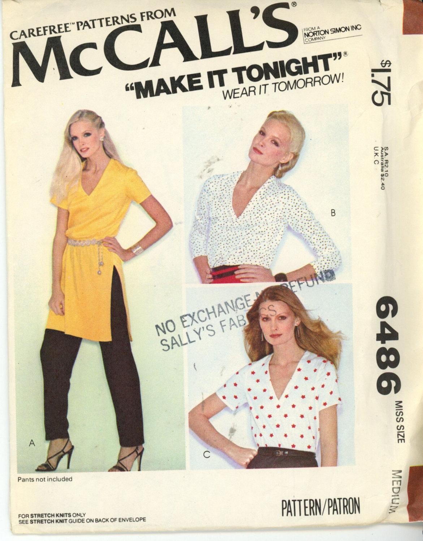 McCalls 6486 Misses Tunic or T-Shirt Size Medium 14-16 - $5.50