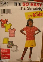 Simplicity 7547 Girl's Shorts and Knit Top Sizes 3-12 - $2.00