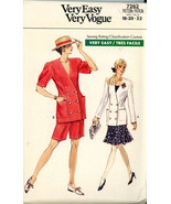 Vintage 1988 Vogue Very Easy 7262 Misses' Petite Jacket, Skirt and Short... - $3.00