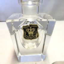 Vintage Hand Cut Lead Crystal Perfume Bottle Golden Crown E&R Western Ge... - $12.69