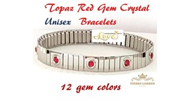 Silver Bracelet Topaz Red Gemstone Unisext gift for couples Jewelry HAND... - $39.99