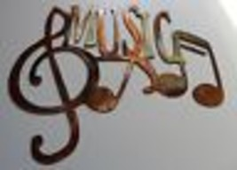 MUSIC Wall Art with Musical Notes copper/bronze plated  Mini Size by HGMW - $10.99