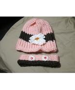 Handmade Knitted Pink & Headband Infant Winter Hat Cap CUTE - $14.85