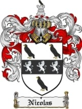 Nicolas Family Crest / Coat of Arms JPG or PDF Image Download - $6.99