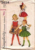 1960's BLOUSE, TOP & SKIRT Pattern 3614-s Child Size 1 - Complete - $10.69